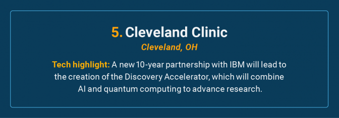 The Cleveland Clinic is the number 5 high-tech cancer hospital in the U.S.