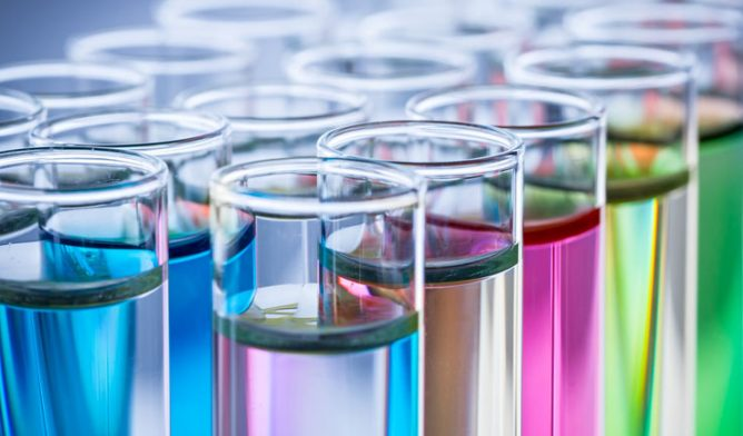 test tubes with colored liquid