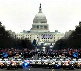Police on motorcycles gather at Capitol Hill
