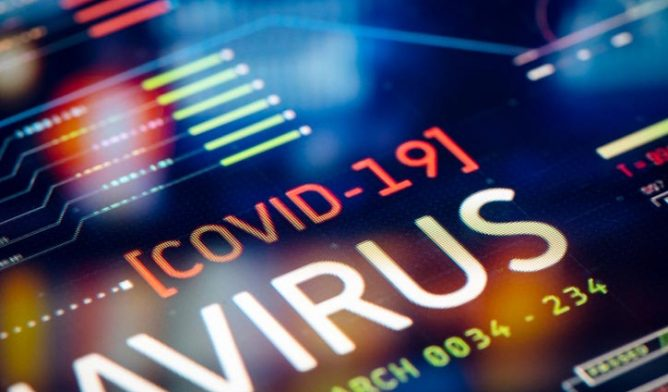 Coronavirus on computer display
