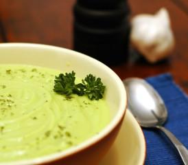 Bowl of cream of avocado soup