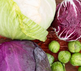 Cabbage and Brussels sprouts on a table