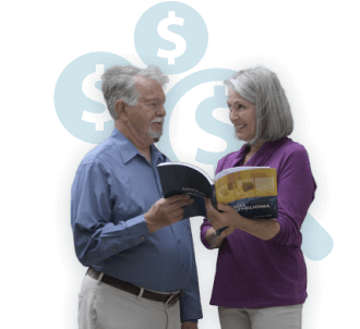 Mesothelioma patient and wife reading financial aid guide