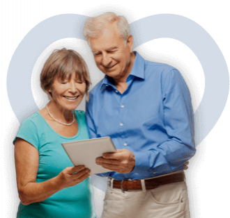 Older couple looking a tablet
