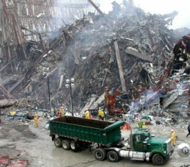 Cleanup at World Trade Center site after 9/11 terrorist attacks