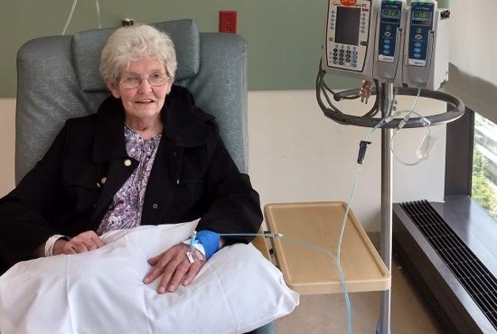 Mesothelioma survivor Emily Ward receiving chemotherapy