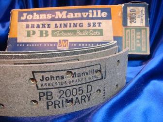 Johns Manville asbestos brake linings