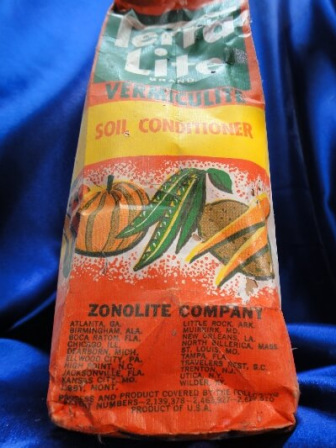 Colorful bag of Zonolite vermiculite for farming