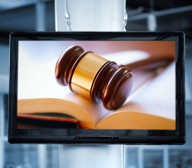 Gavel commercial on a flatscreen television