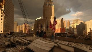 NYC Ground Zero with flags