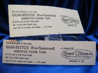 Two paper tape samples labeled Gum-Bestos