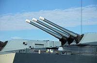 Guns on a Naval ship