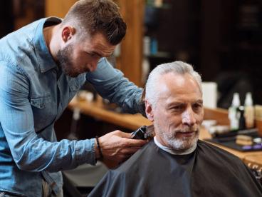 Barber giving a haircut