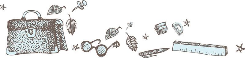 Illustration of school items