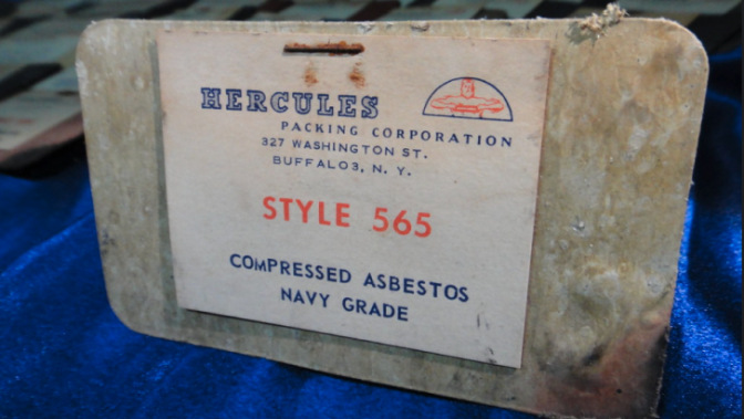 An asbestos gasket manufactured by Hercules for the U.S. Navy