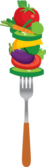 Fork stacked with fruits and vegetables