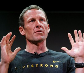 Lance Armstrong wearing a Livestrong shirt