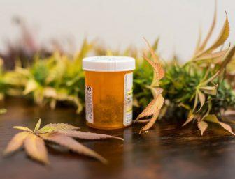 Medicine bottle filled with medical marijuana