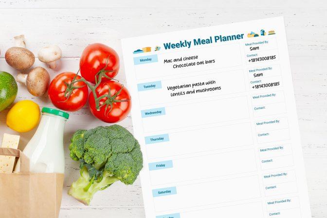 Downloadable weekly meal planner worksheet