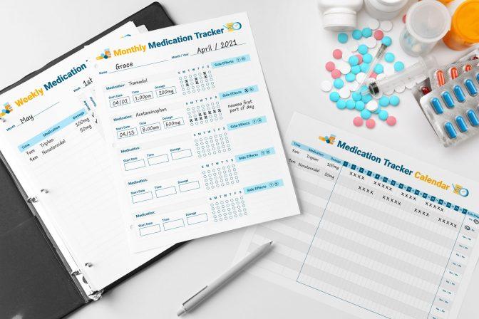 Medication tracker worksheets for cancer patients