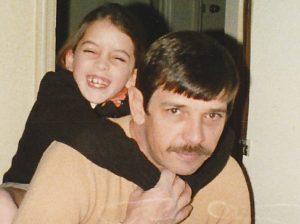 Melanie Ball on her dad's shoulders