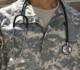 Military doctor in fatigues and stethoscope