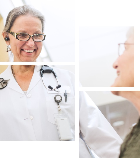 Mosaic of patient meeting with doctor