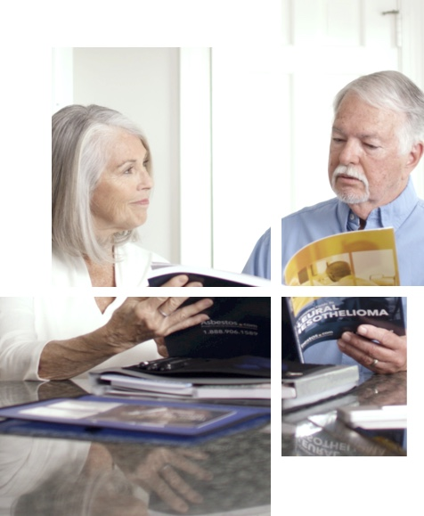 Elderly couple reading an Asbestos.com Mesothelioma packet