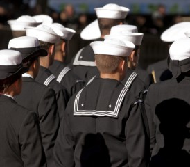 Navy Men & Women Standing at Attention