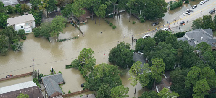 Aerial view of a flooded neighborhood after Hurricane Harvey