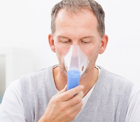 Man with oxygen mask