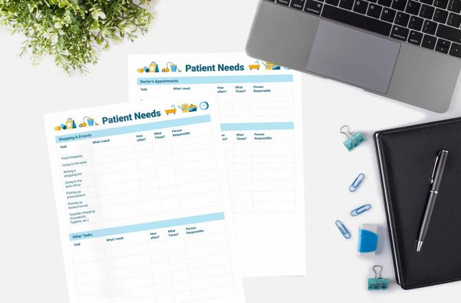 Two copies of the Patient Needs worksheet next to a laptop