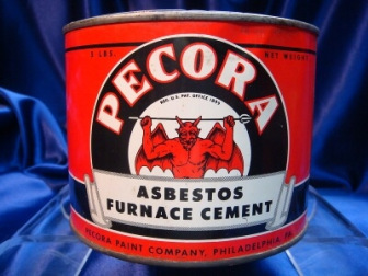 Red can of Pecora asbestos furnace cement