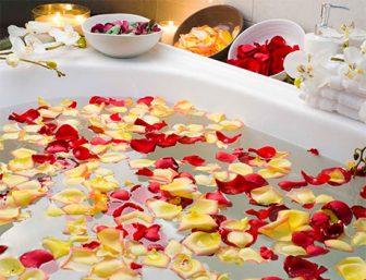 Spa Bath with Rose Petals