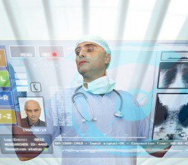 Researcher looking at virtual screen
