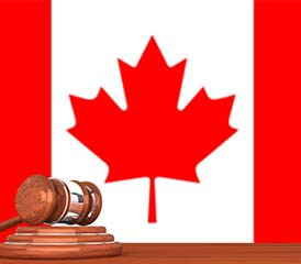 Canadian flag with gavel