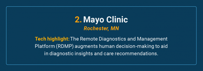 The Mayo Clinic is the number 2 high-tech cancer hospital in the U.S.