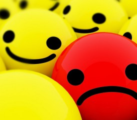 Red Sad Face and Yellow Smiley Faces