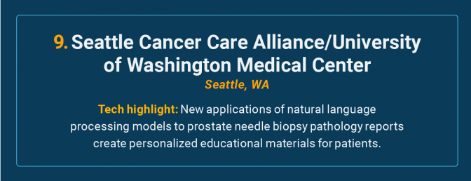 Seattle Cancer Care Alliance/University of Washington Medical Center is the number 9 high-tech cancer hospital in the U.S.
