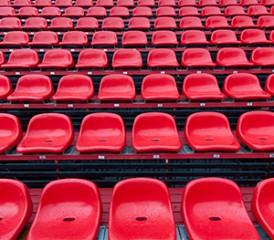 Red stadium seats