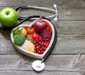 Stethoscope heart with fruit