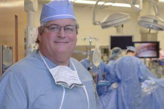 Mesothelioma expert Dr. David Sugarbaker in surgery scrubs