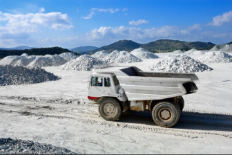 Talc mine with truck