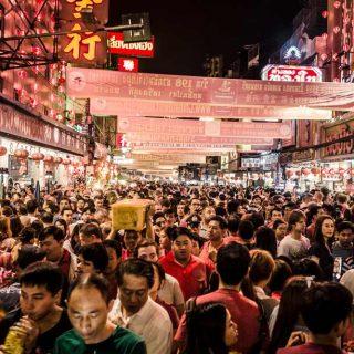 Crowded market in Bangkok, Thailand