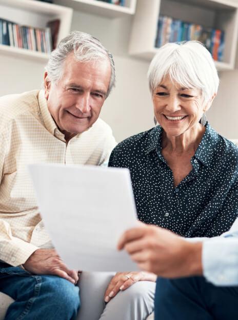Elderly couple looking