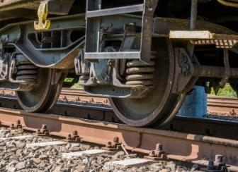 Closeup of train brakes