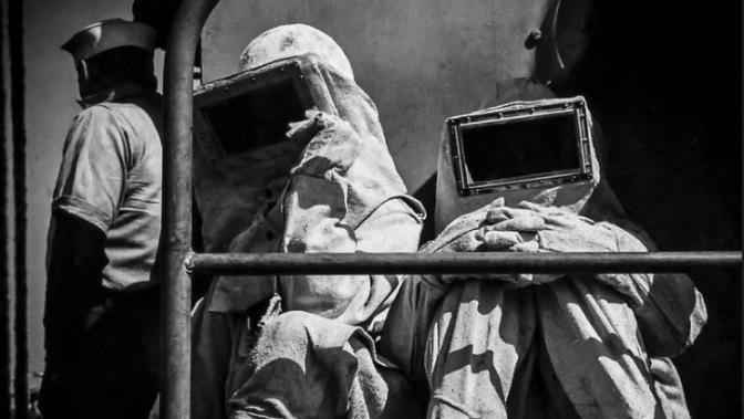 US Navy Firefighters in Asbestos Proximity Apparel