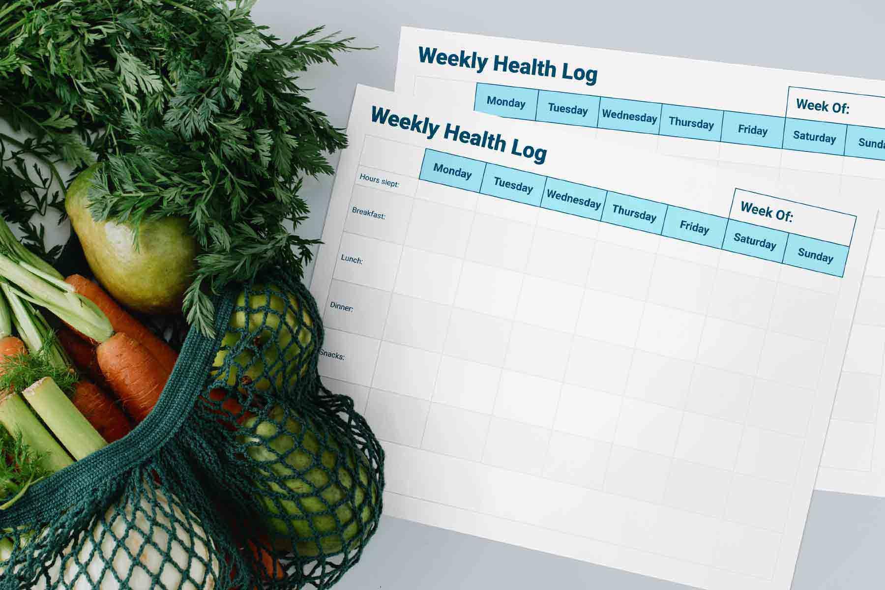 Printable weekly nutrition and wellness log