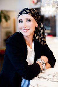 Female Cancer Patient with Head Wrap
