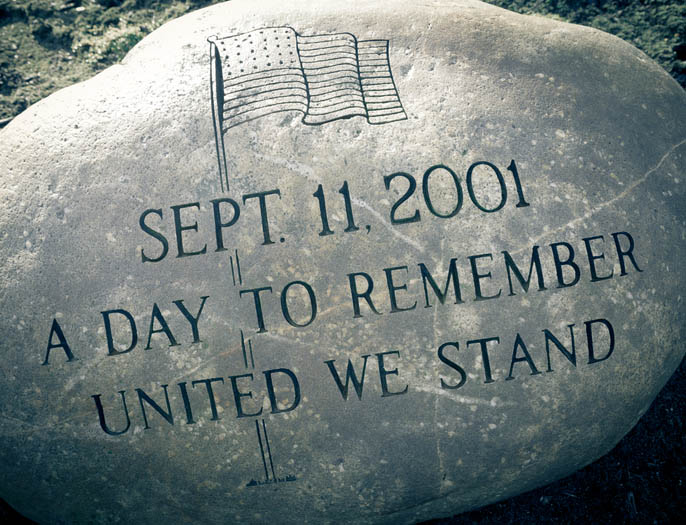 9-11 Memorial Etched into a Large Round Granite Rock